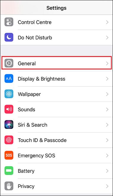 general ios 11 settings