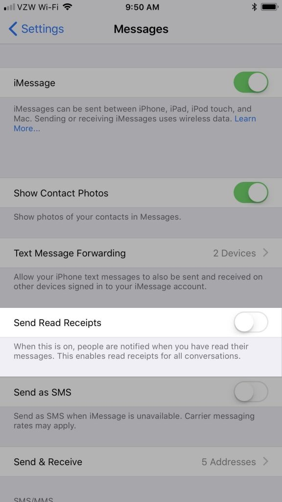 iPhone messages