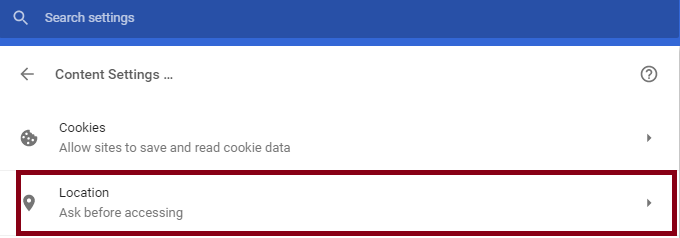 location on off in google chrome