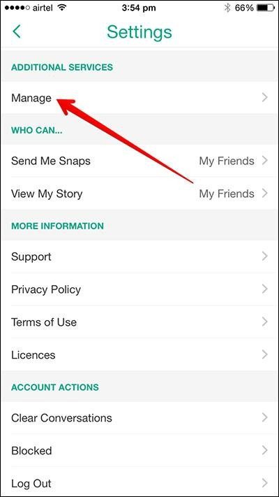 manage snapchat settings