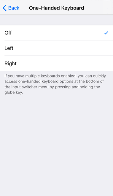on or off one hand keyboard ios 11
