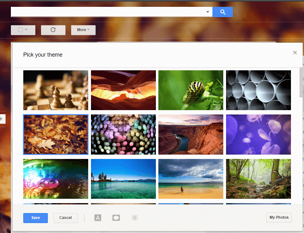 pick your gmail theme