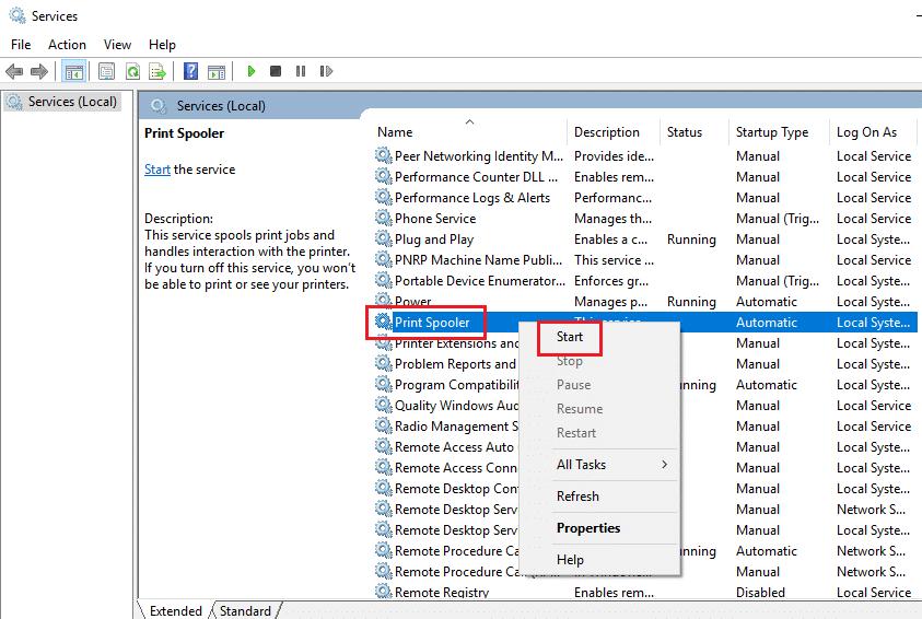 print spooler windows 10 start