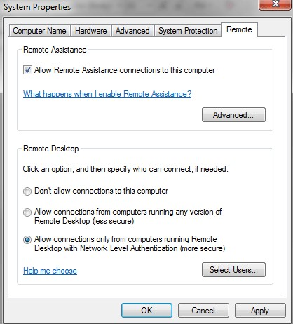 remote system properties