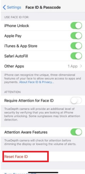 reset face ID iPhone