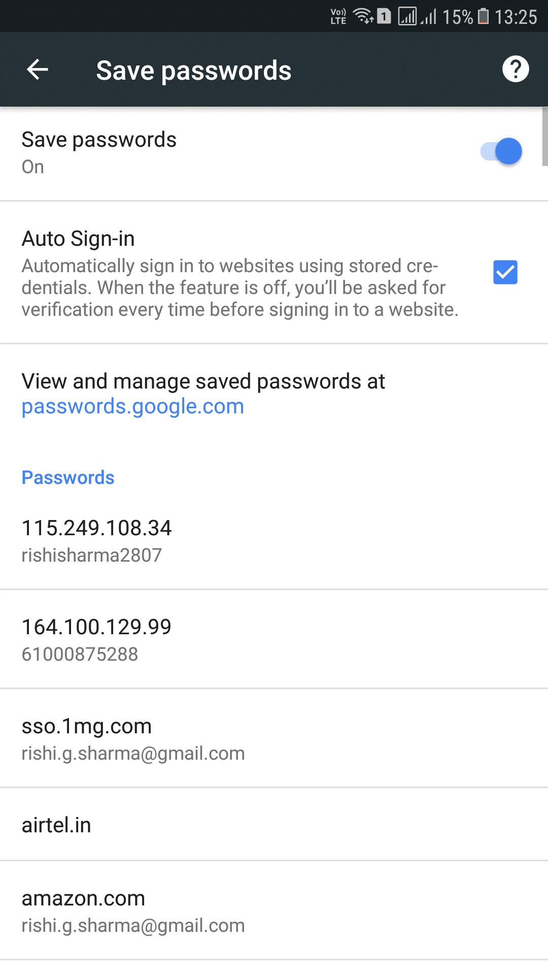 save password at password google