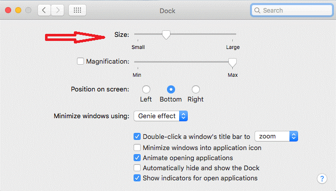 small to large dock size in mac