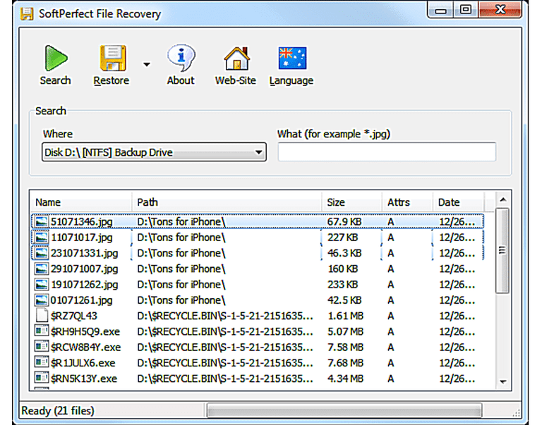 SoftPerfect File Recovery - data recovery software