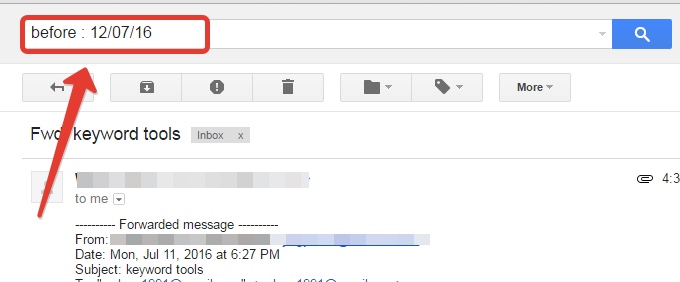 to search old message in gmail
