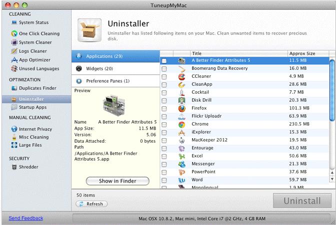tuneupmymac help to uninstall apps