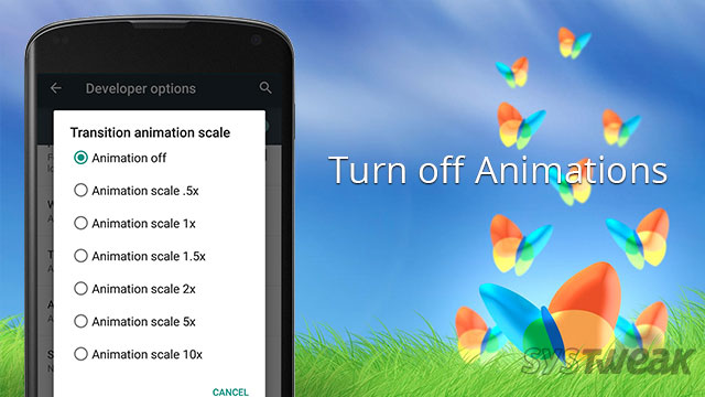 turn off android animation