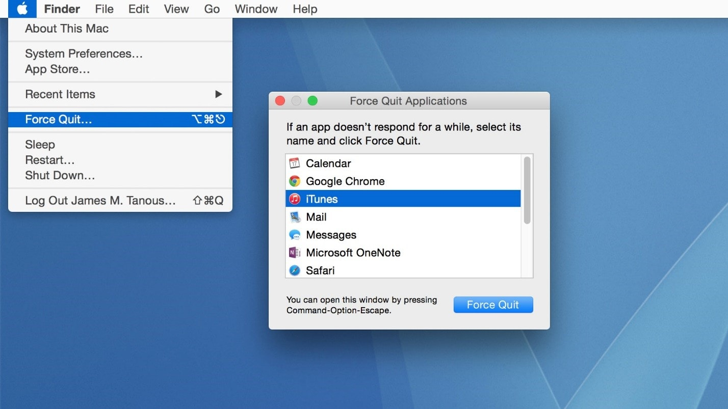 use forc quit option