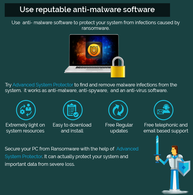 use reputable anti malware software secure from ransomware