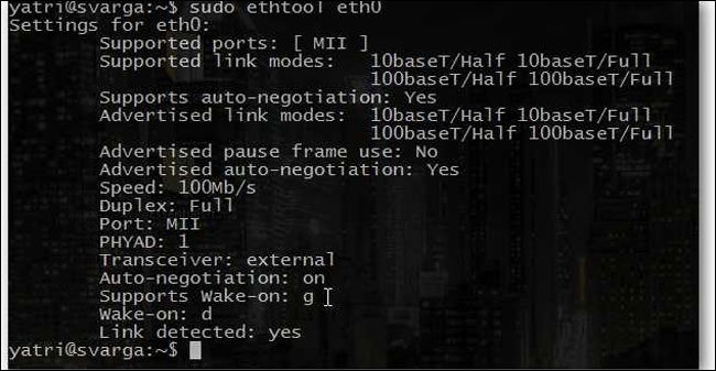 wake on lan in linux via cmd