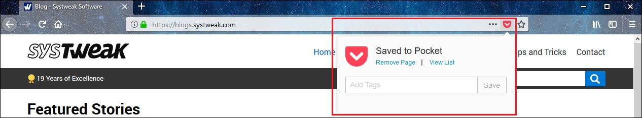 webpage save to pocket tags