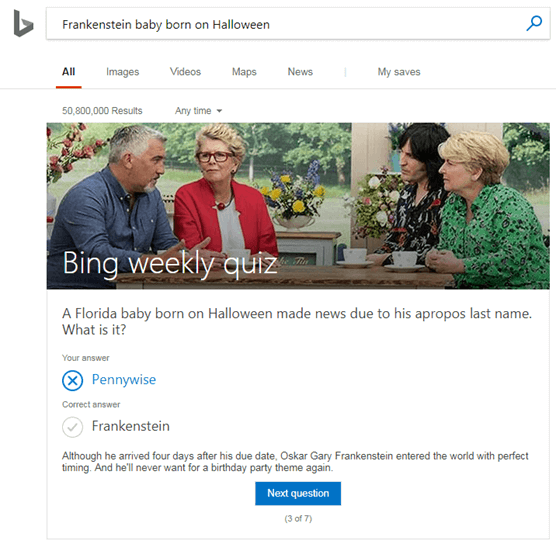 weekly quiz bing