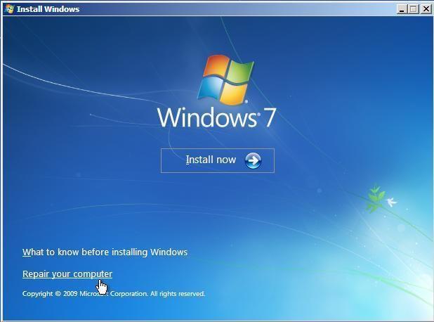 windows 7 repair your computer